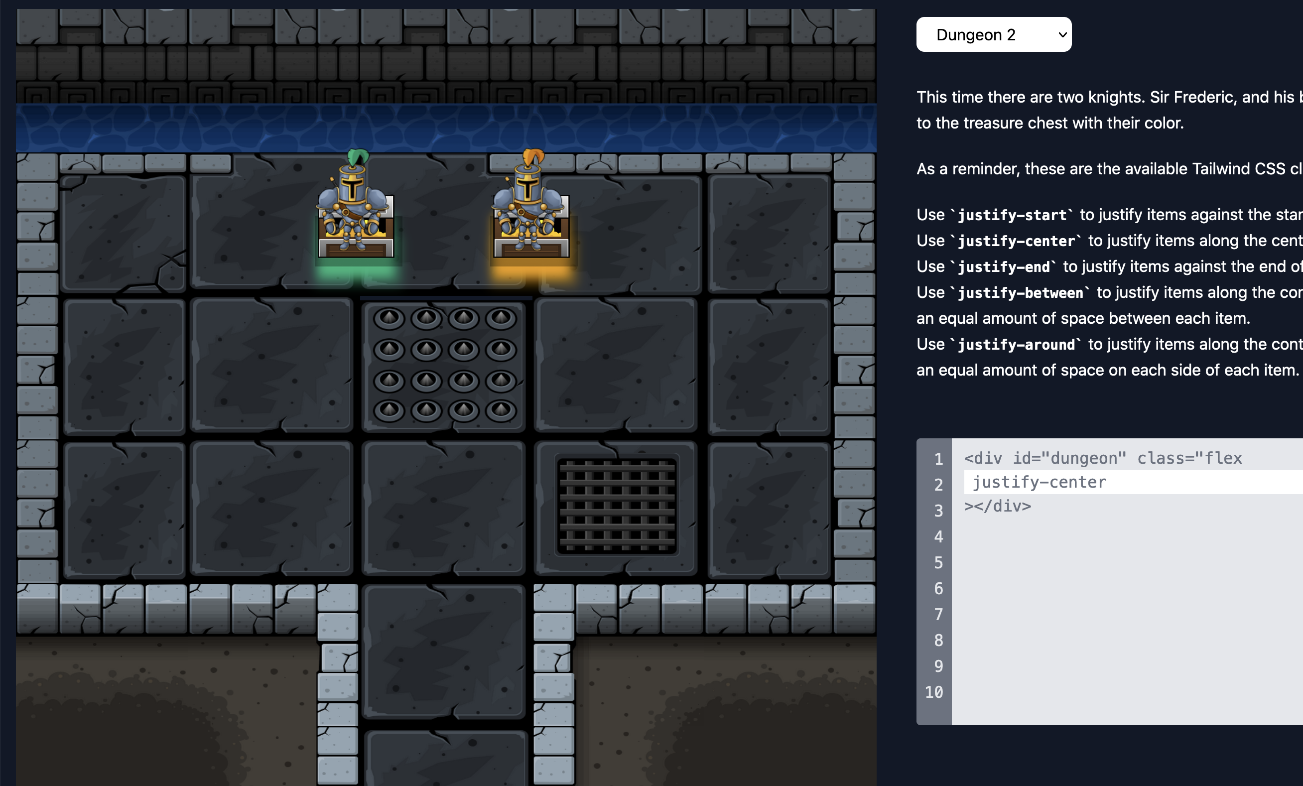 Knights of the Flexbox Dungeon Example