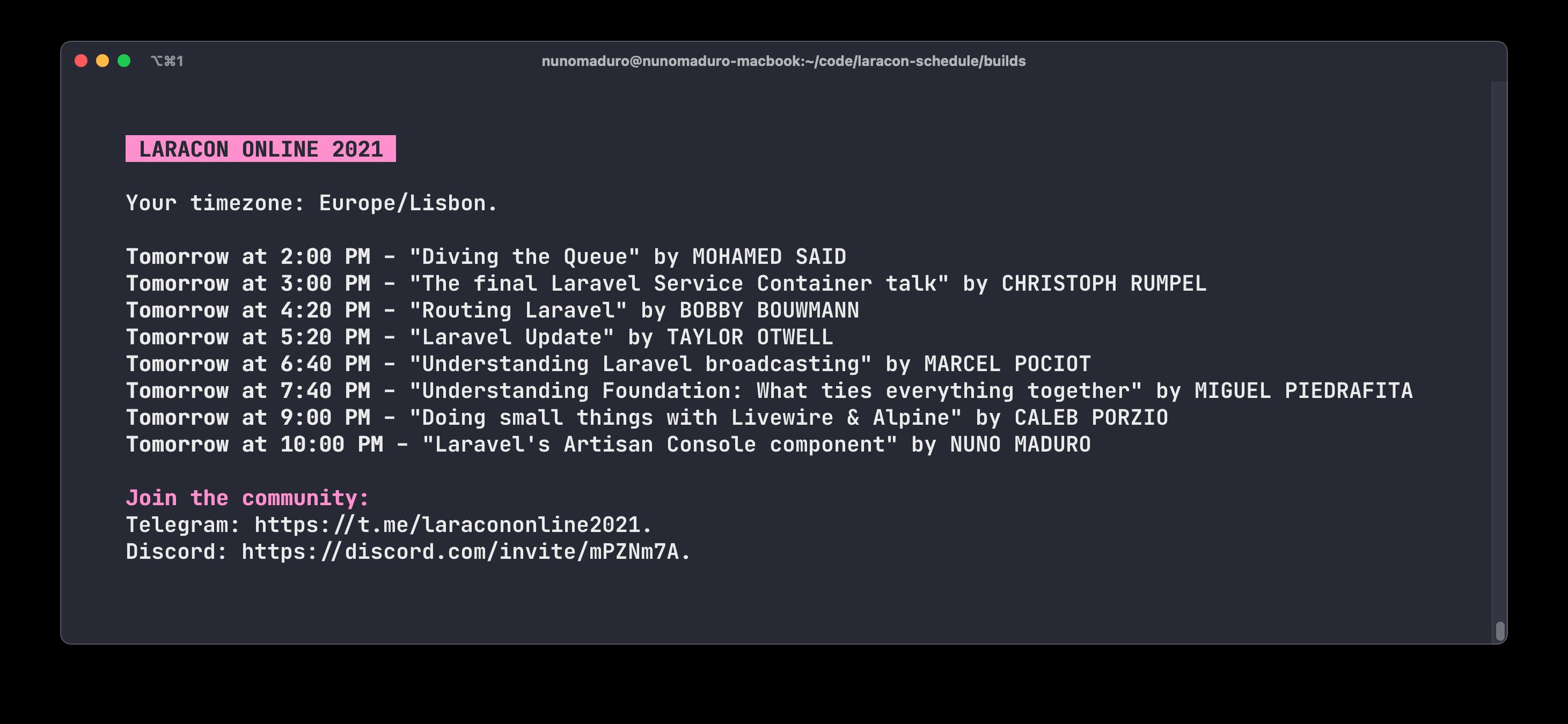 Laracon Online Schedule Console Output