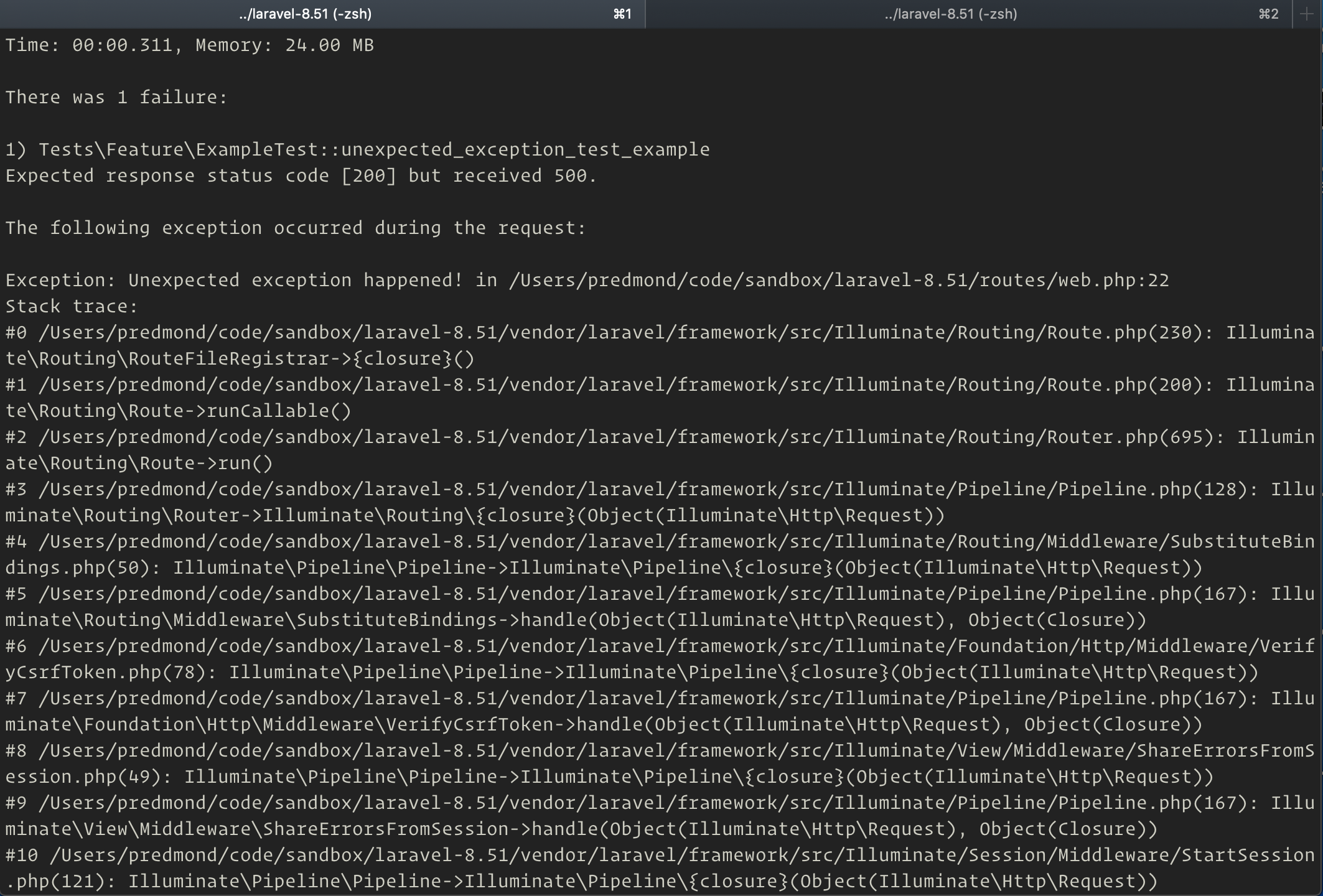 failed test with stack trace