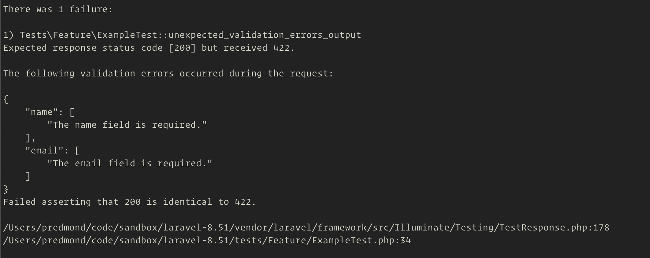 failed test with JSON validation errors