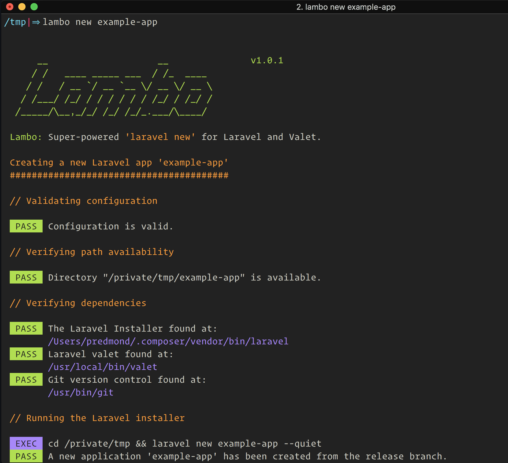 lambo new example-app command line output