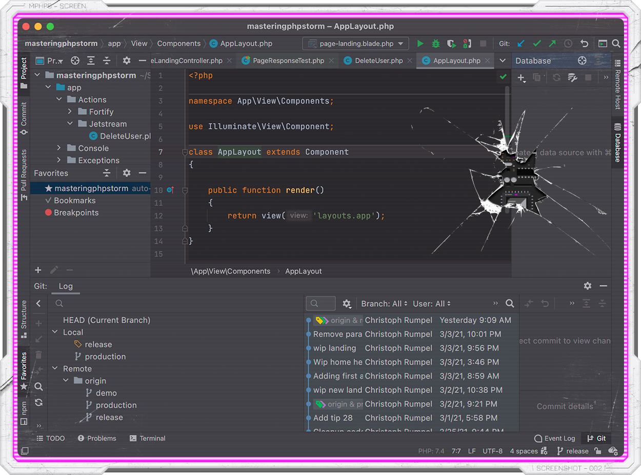 PhpStorm how it looks by default