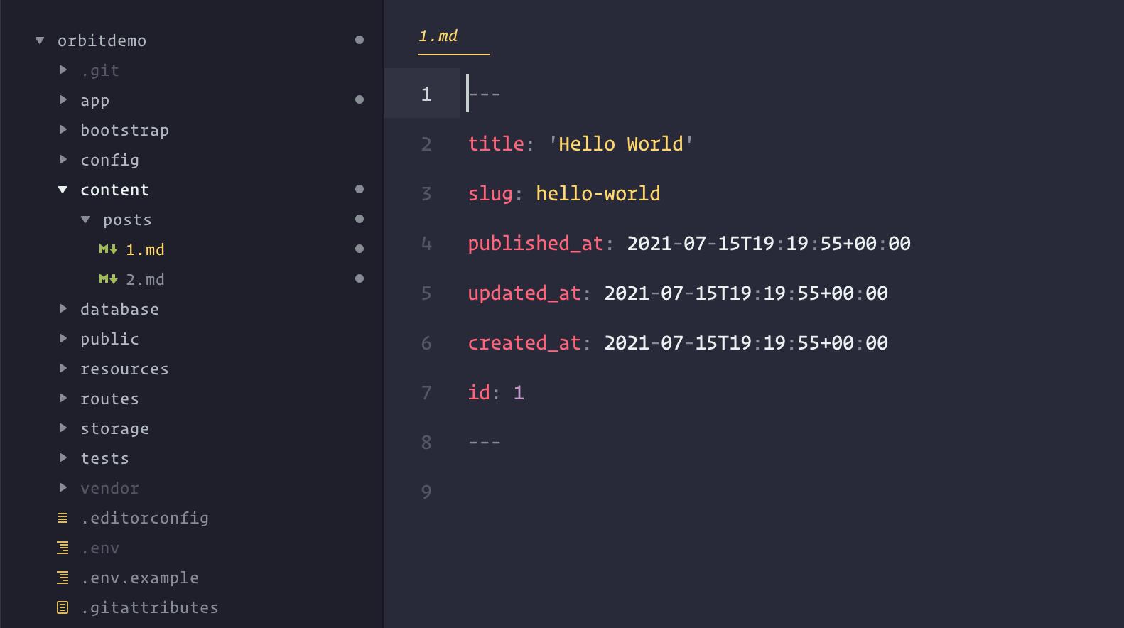 Screenshot of an Orbit flat file