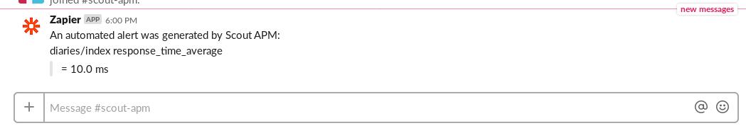 ScoutAPM alert example in Slack using Zapier